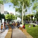 Pedestrian View of City Park