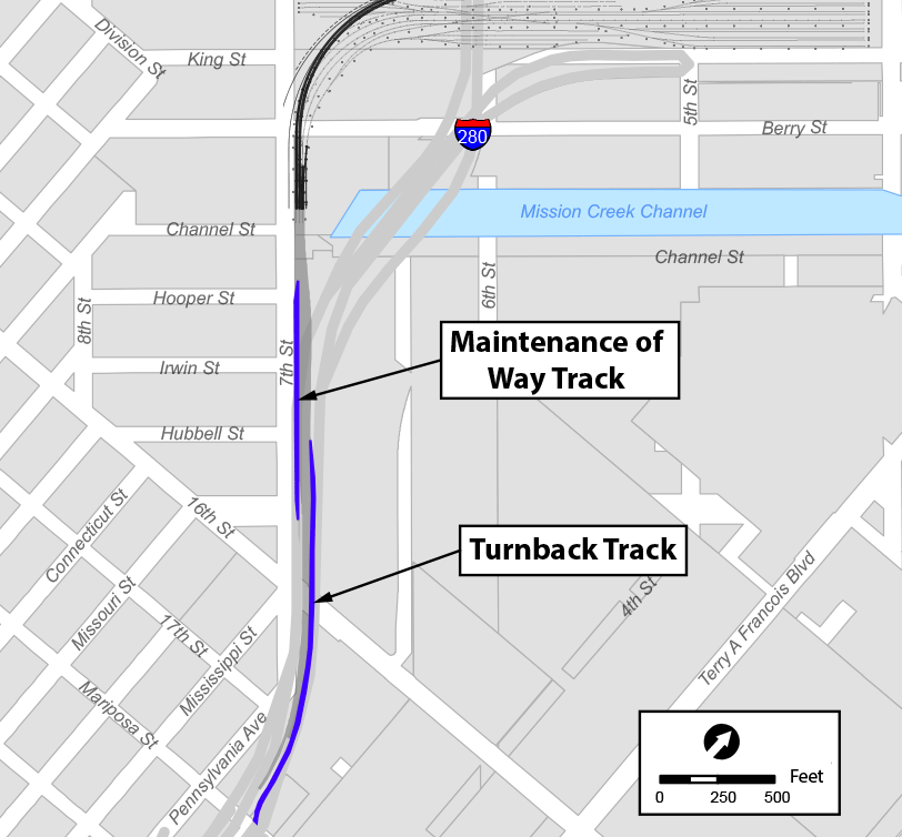 Figure 2-14: Additional Trackwork South of the Railyard